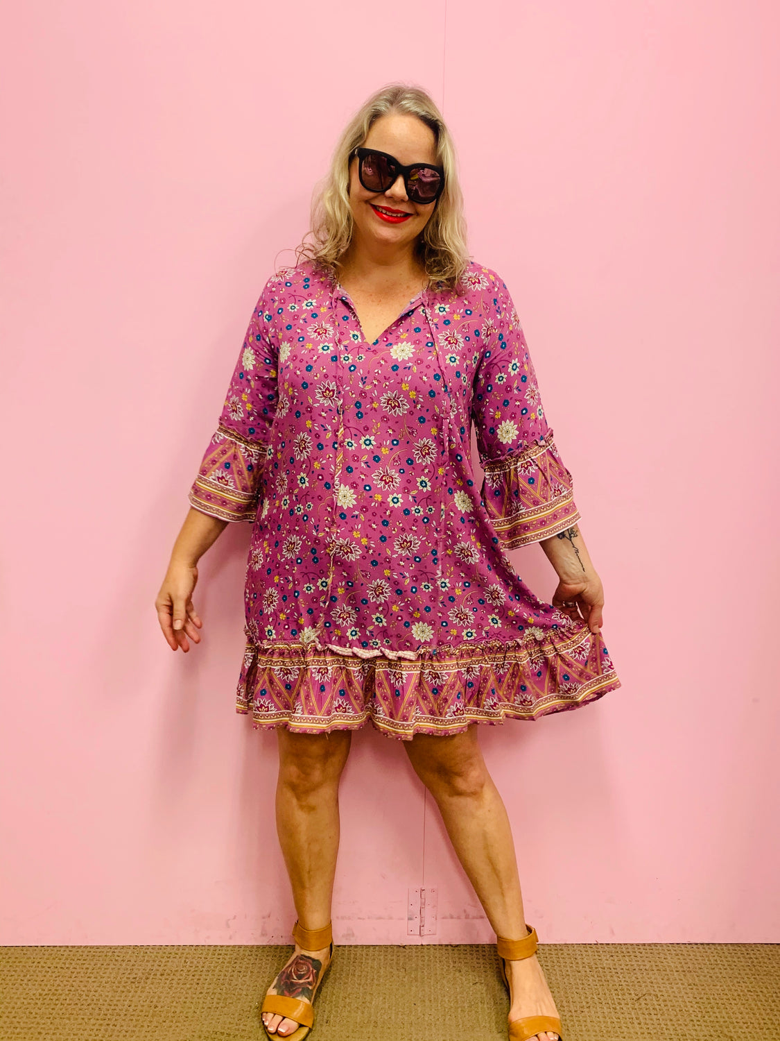 Alice Tunic Dress-Pink/Mauve