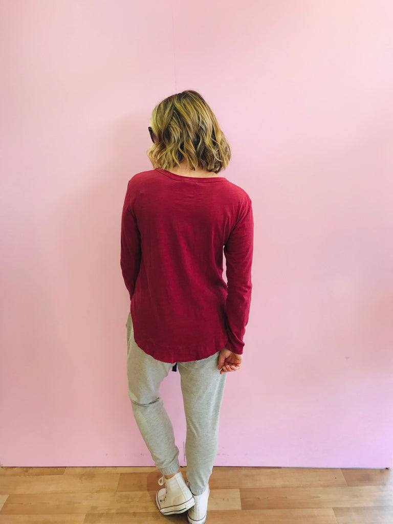Mosman Long Sleeve Tee - Burgundy