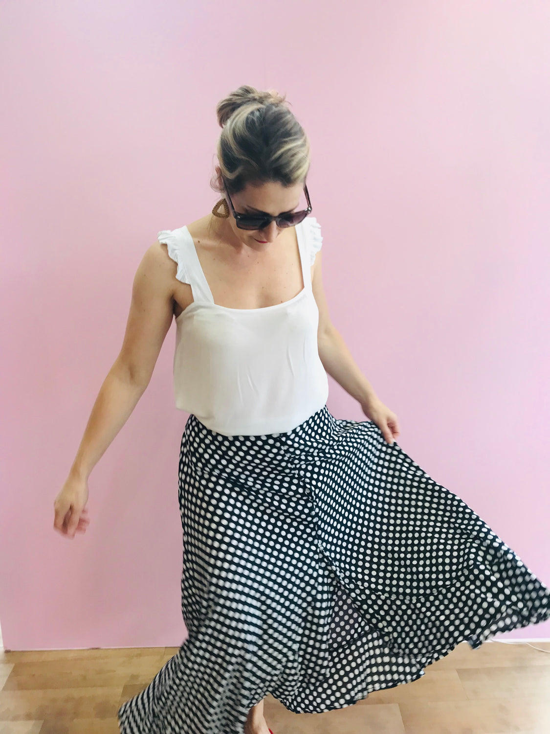 Mad for spots Navy Skirt