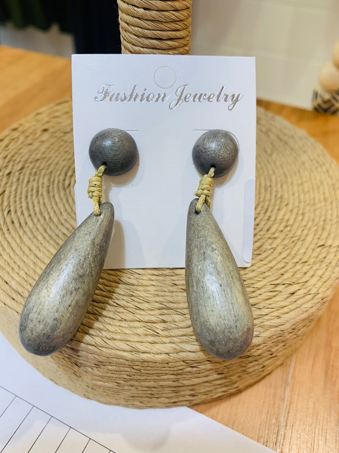 Grey Wood Earrings