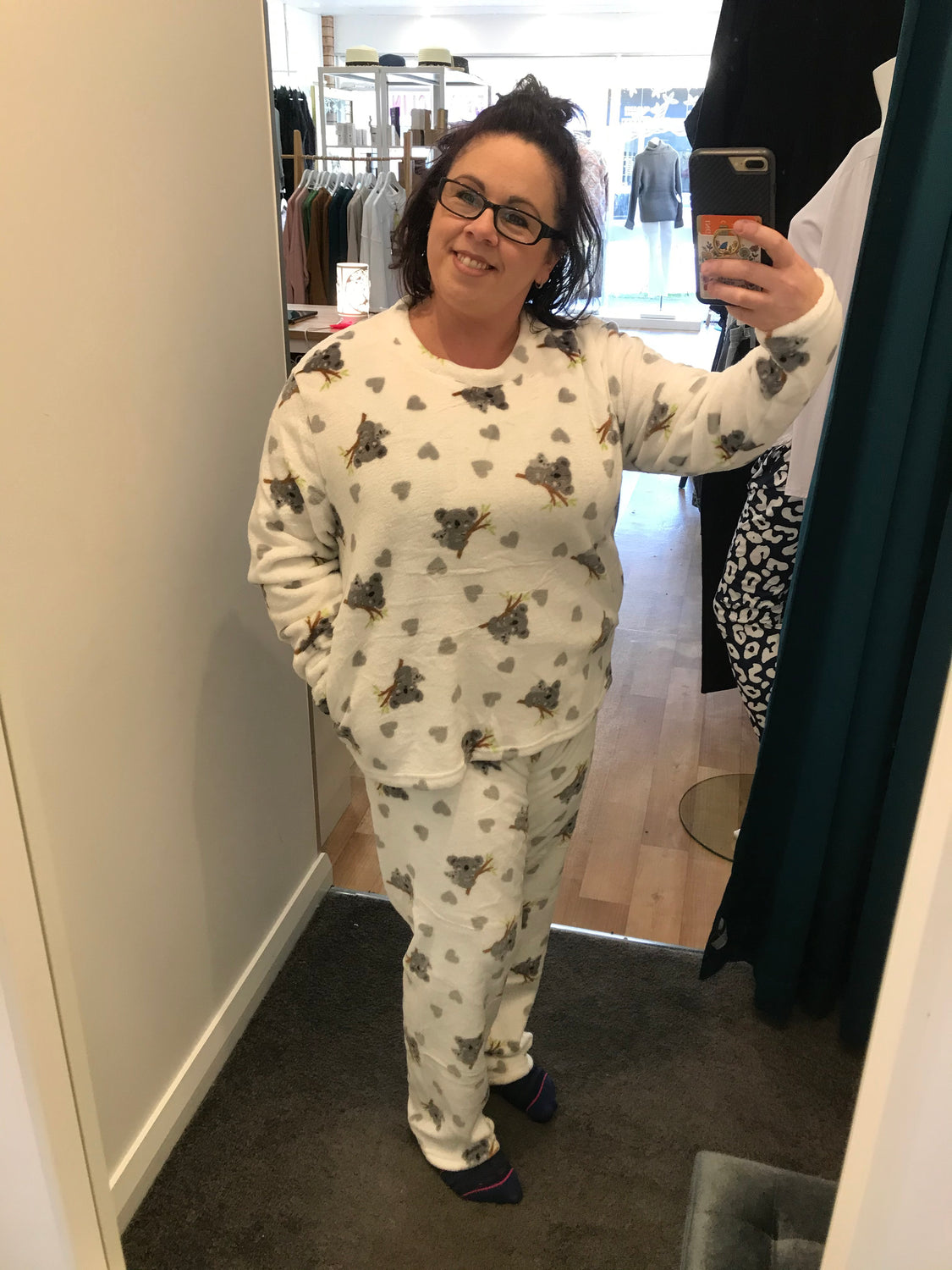 Fleece PJ Set - Koala Love in White