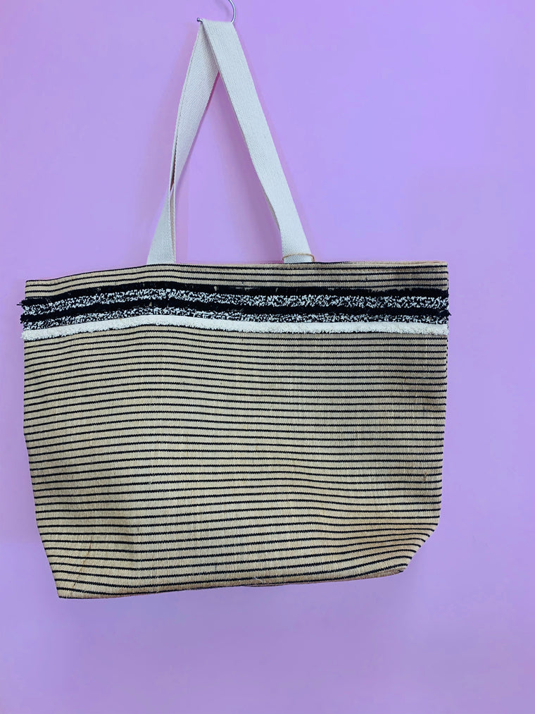 Black Cream Gold Tote