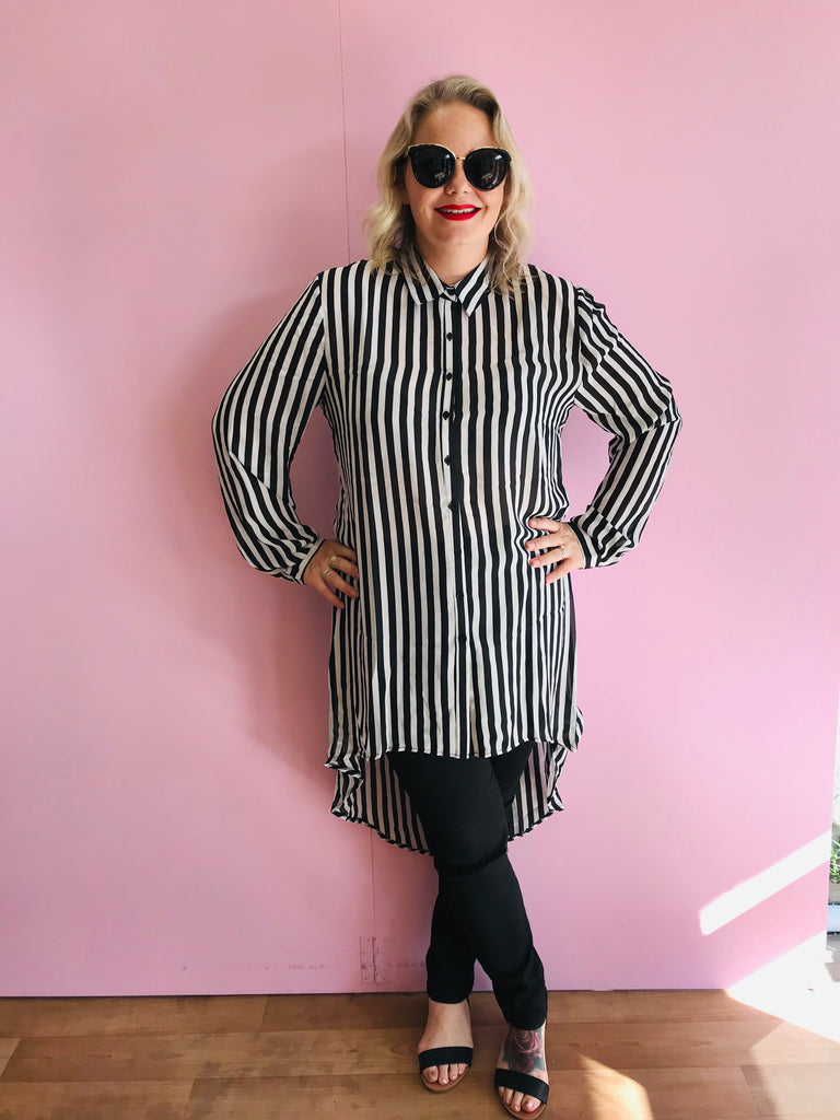 Taylor Black and White Striped Shirt