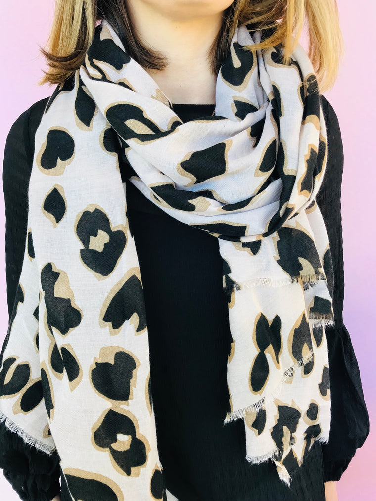 Cream and Black Leopard Scarf