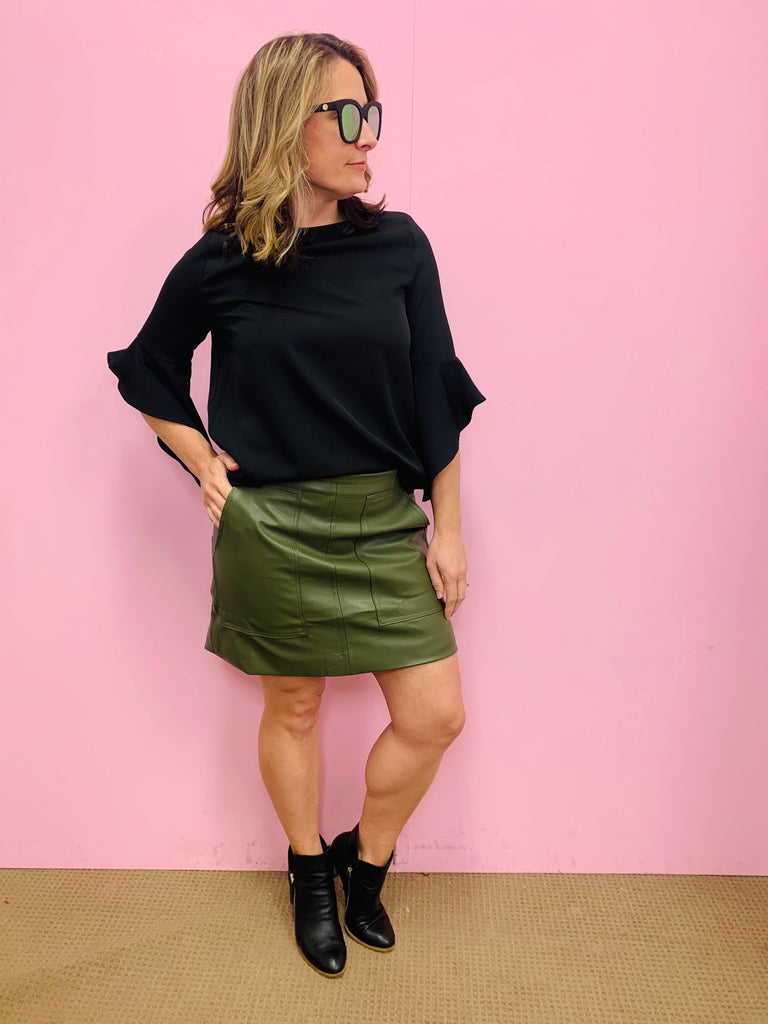 Katy Khaki Leather Look Skirt
