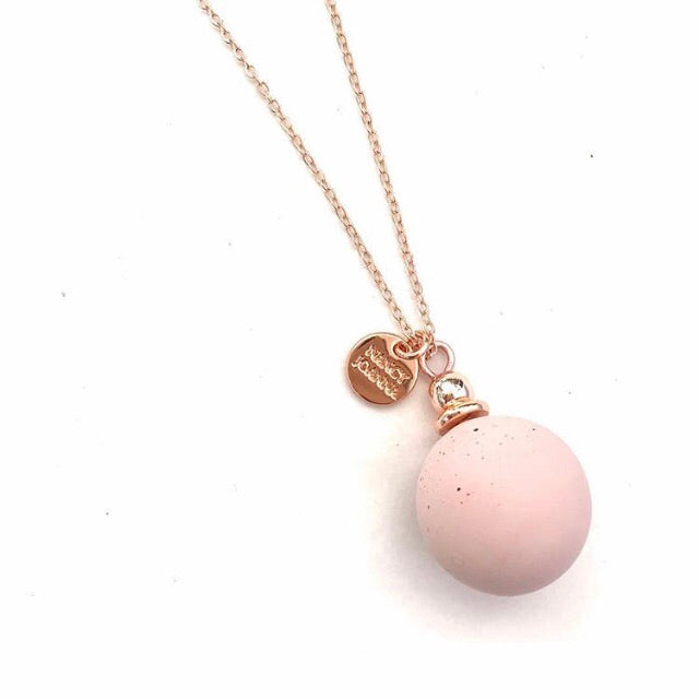 Rose Gold Large Blush Concrete Ball Pendant