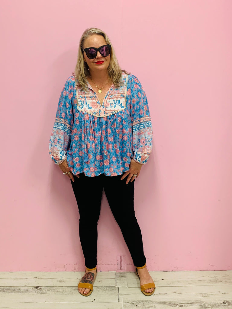 The Lucy Boho Top-Blue/Multi