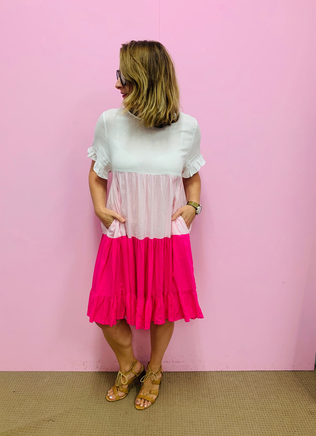 Kiara Tiered Dress-White/Pink/Hot Pink