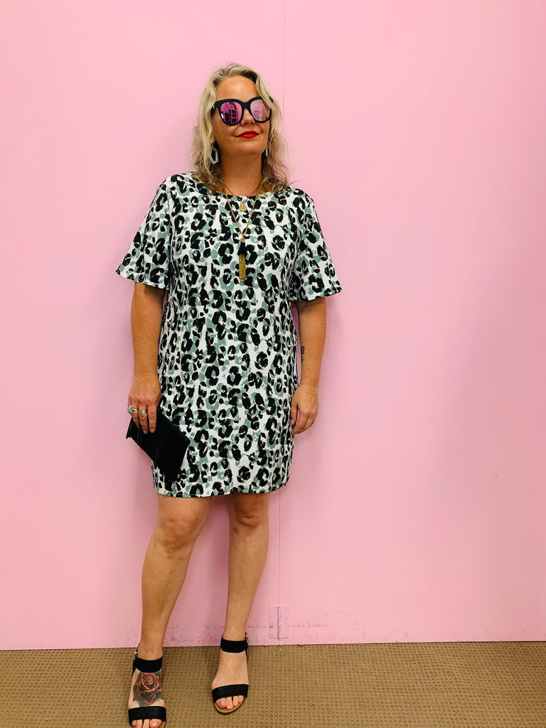 Sage Leopard Shift Dress