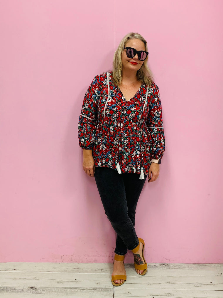 Bonnie Boho Top- Floral Multi