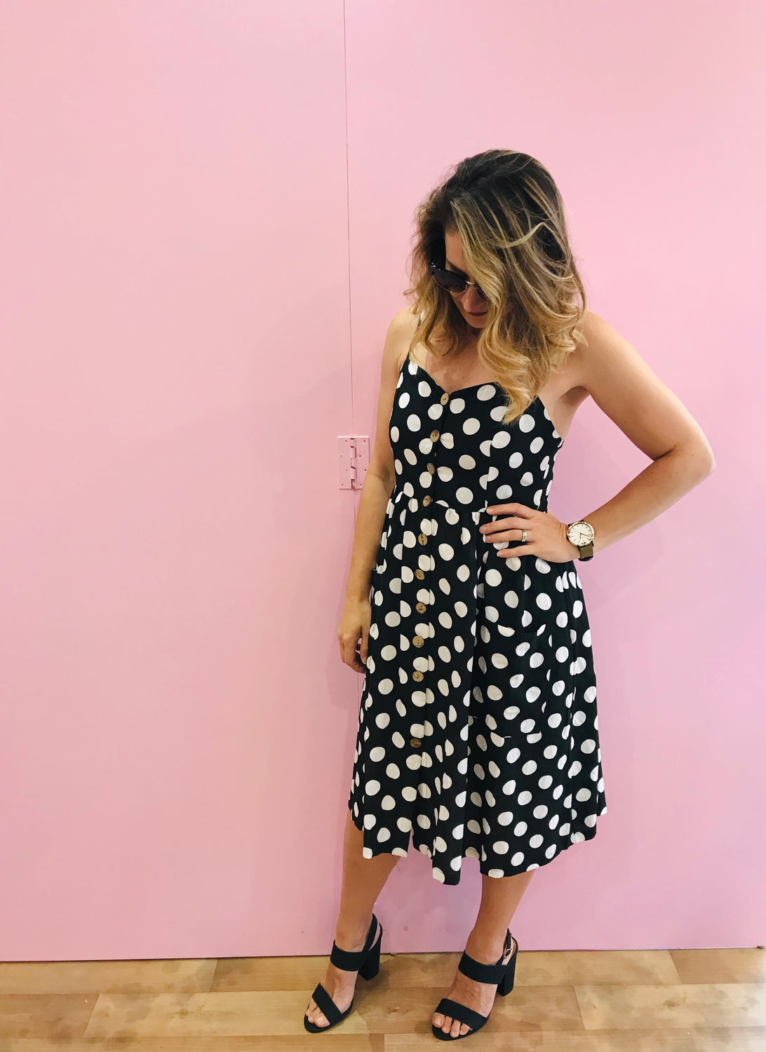 Black and White Polkadot Button Thru Dress