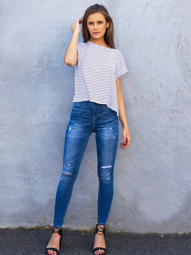 Super High-Waisted Ripped Monaco Jeans