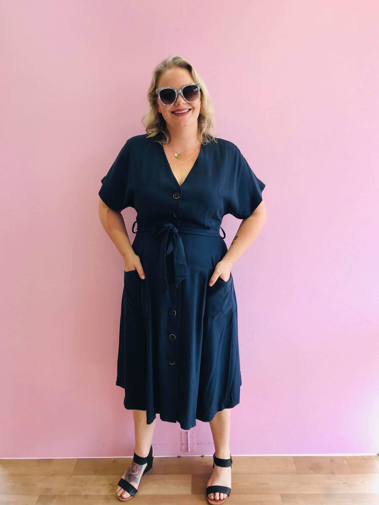Rush Hour Button Down Dress in Navy