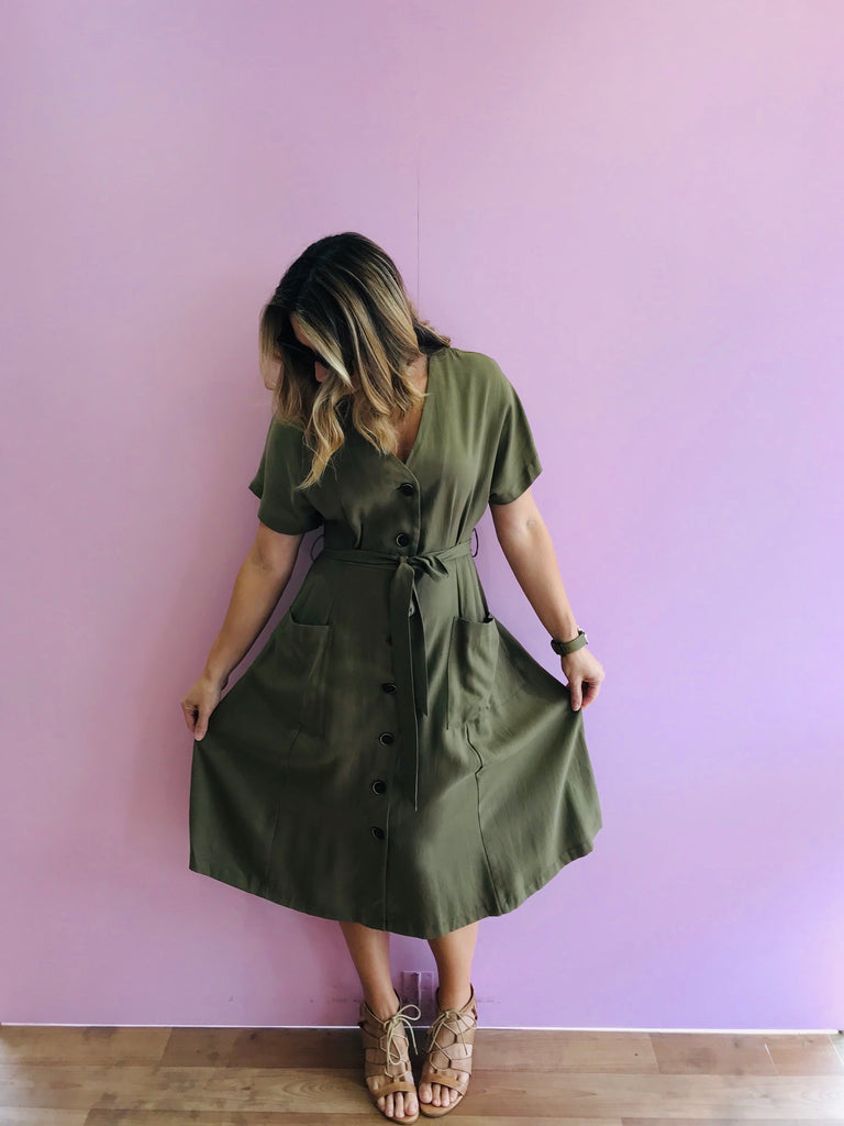Rush Hour Button Down Dress in Khaki
