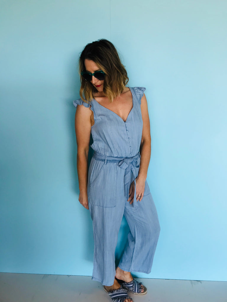 Track Side Ruffle Jumpsuit