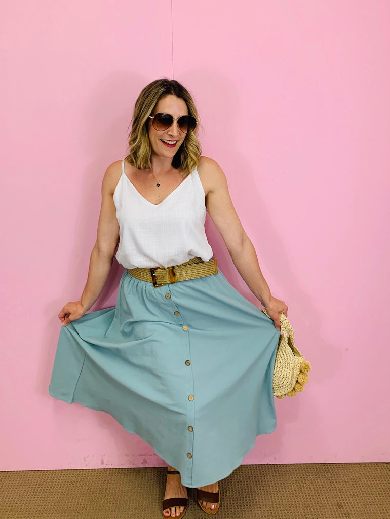 Indi Midi Skirt - Pale Blue