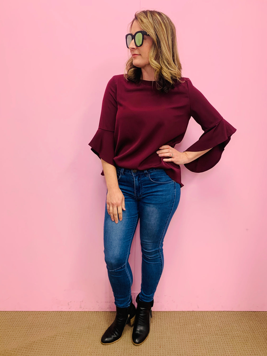 3/4 Flute Sleeve Blouse - Berry