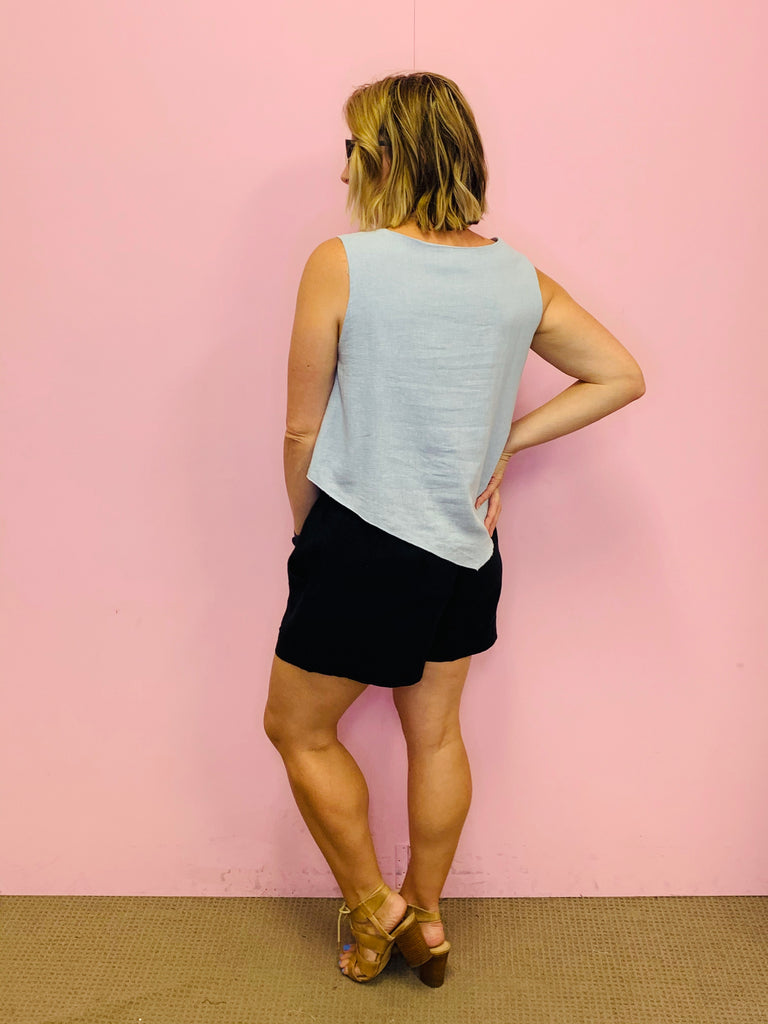 Layered Basic Linen Tank- Dusty Sky Blue