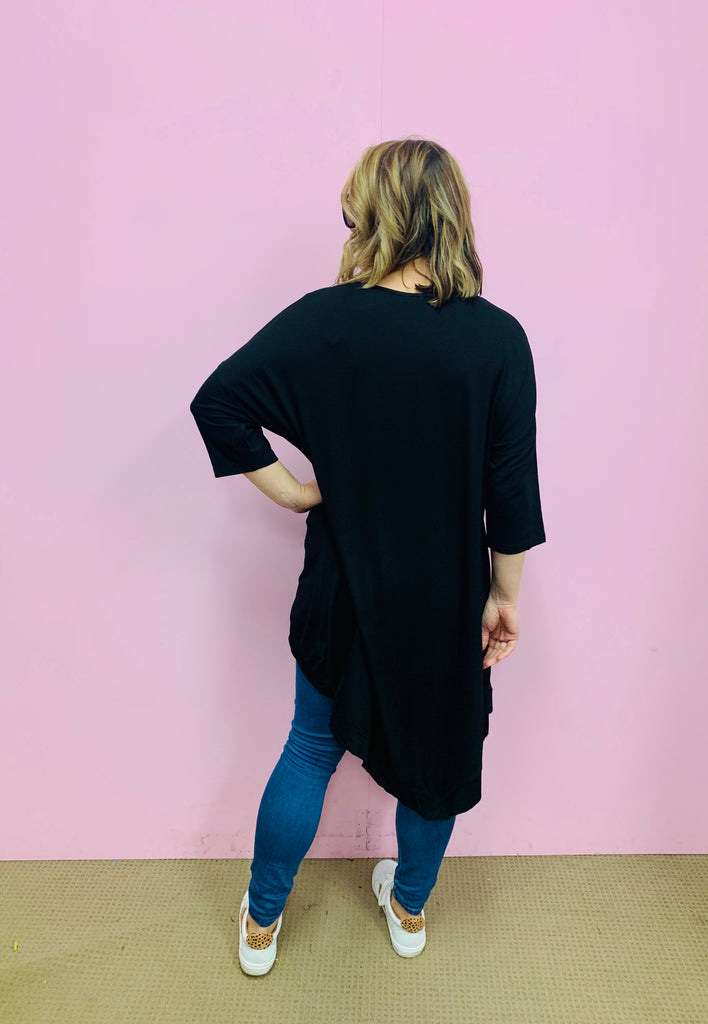 Black 3/4 Sleeve Drape Top