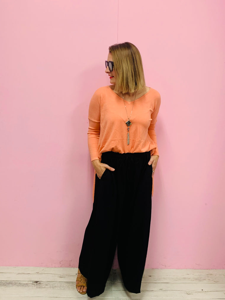 Peach Side Split Knit
