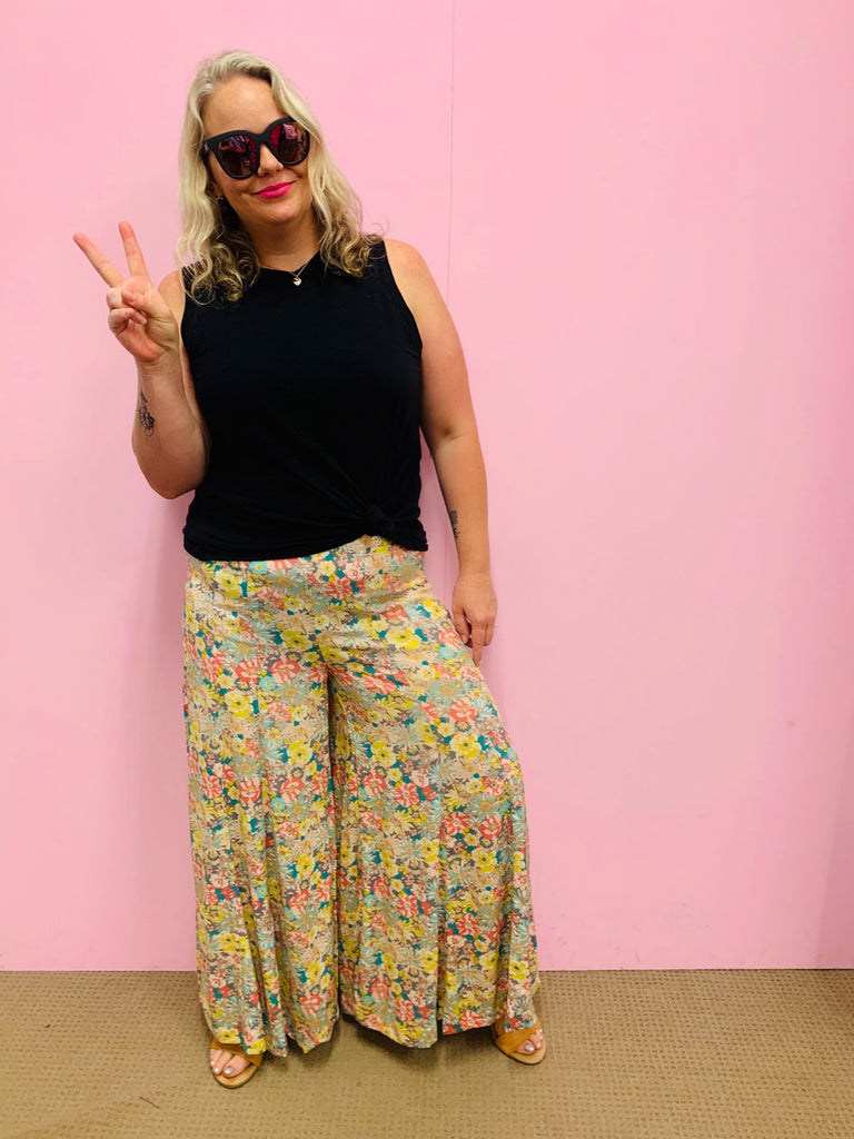 Flower Garden Palazzo Pant-Pastel