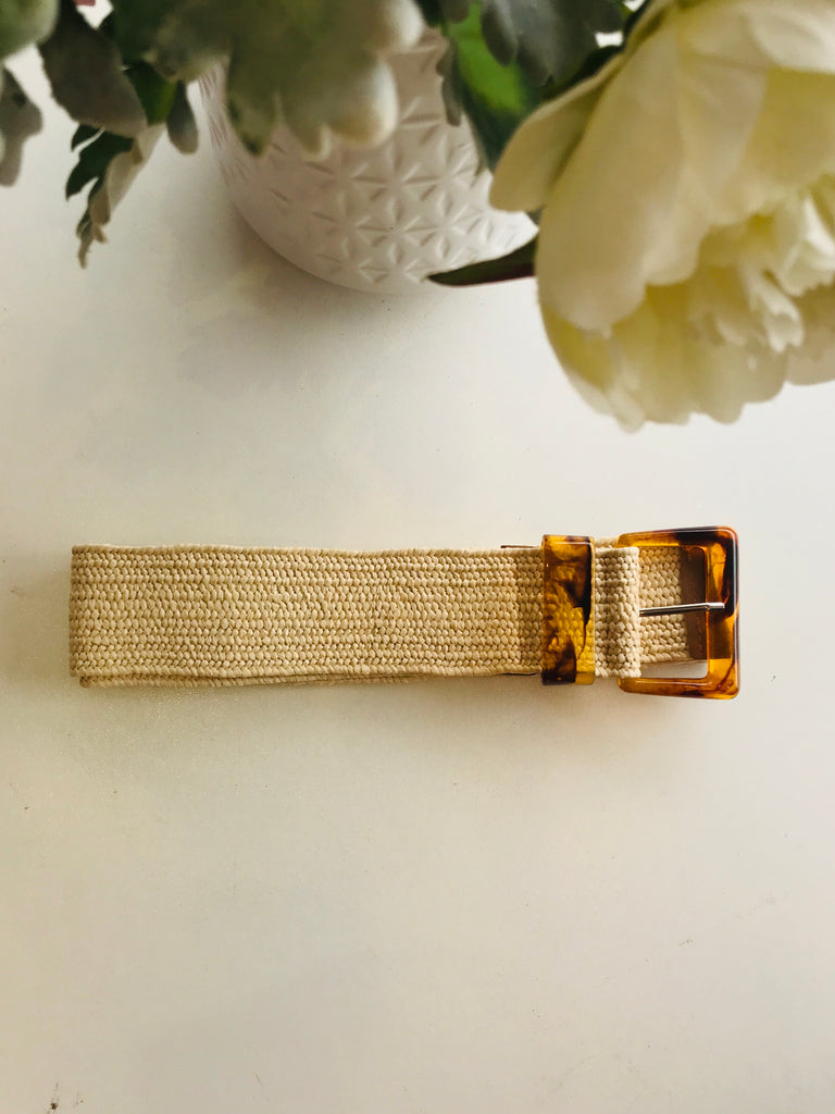 Straw stretch belt - Cream with Tortoise Shell Square