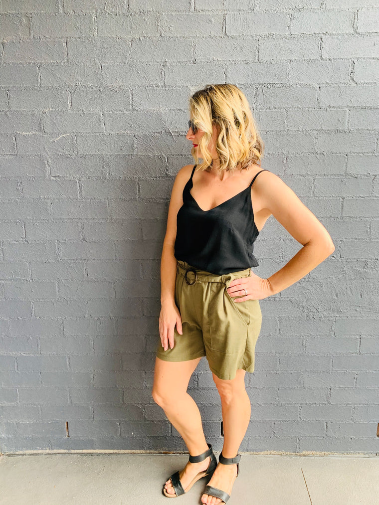 High Waisted Linen Shorts - khaki