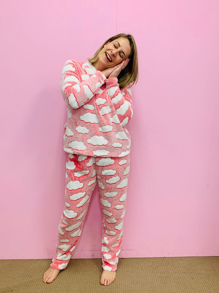 Fleece PJ Set - Pink Clouds