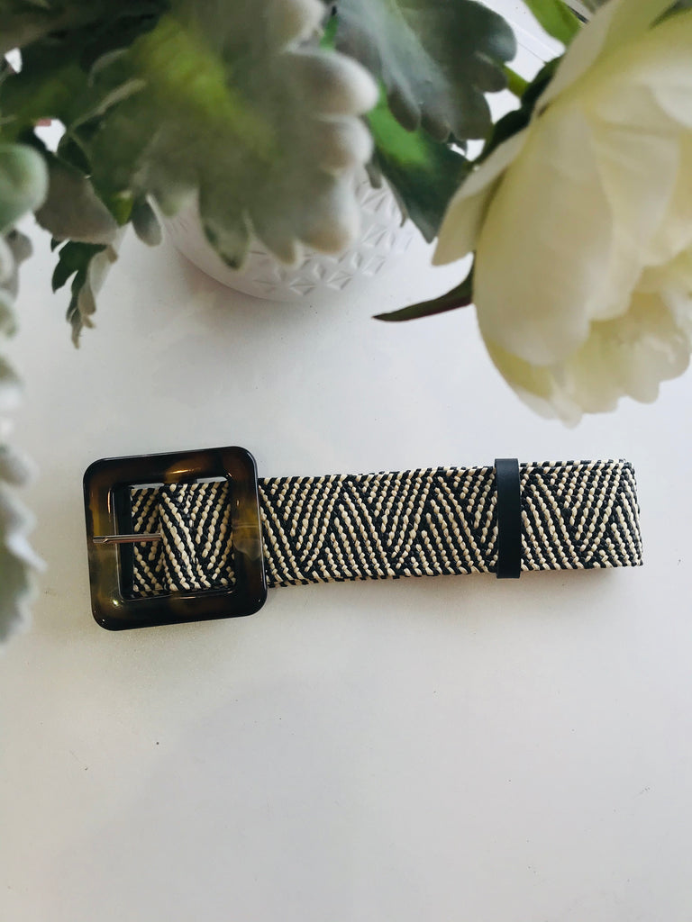 Zebra Black & Cream stretch straw belt