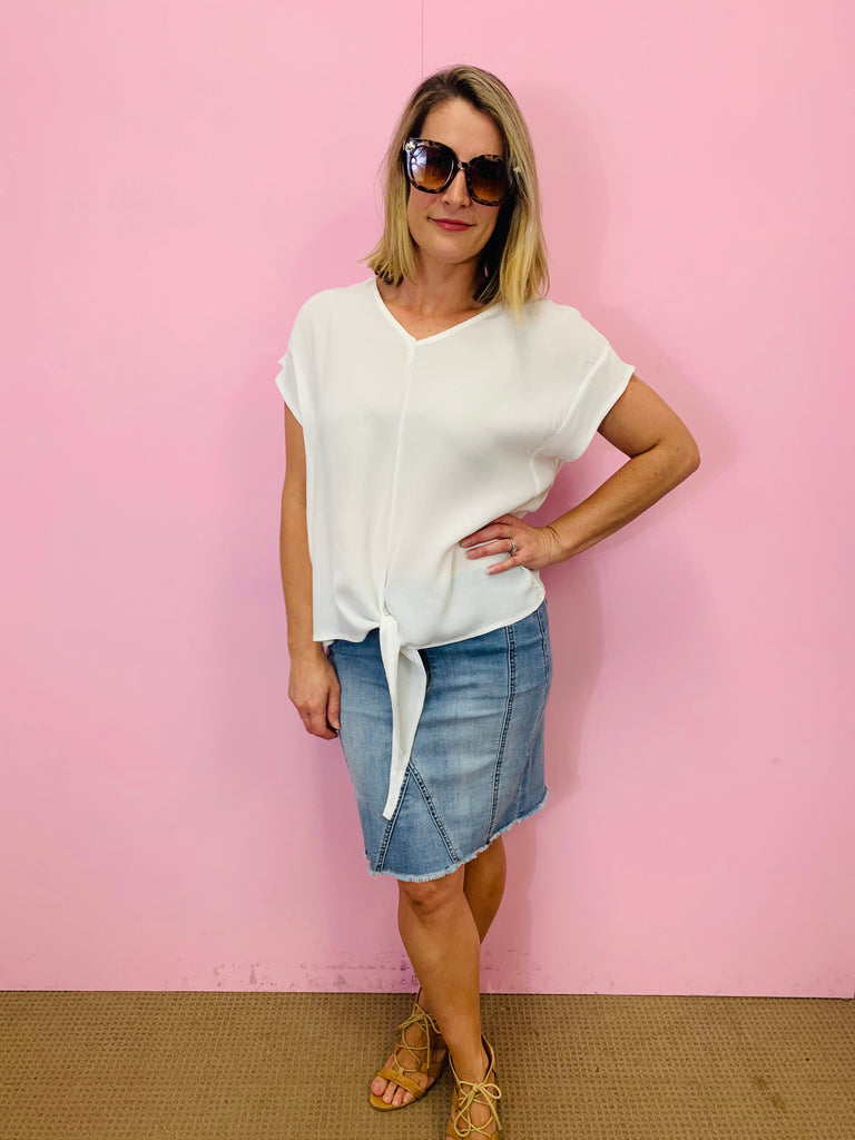 The White Loose Tie Top