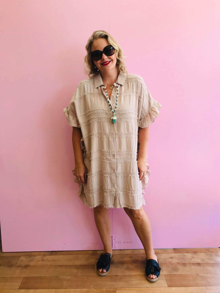 Mocha Frayed Shirt/Dress