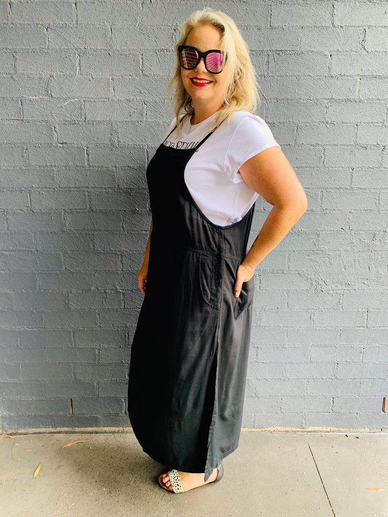Black Button Pinafore