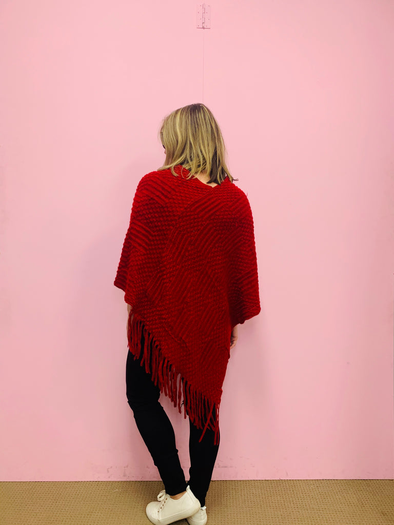 Knit Pom Pom Poncho Top - Burgundy