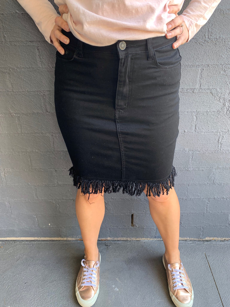 Rihanna Denim Frayed Skirt