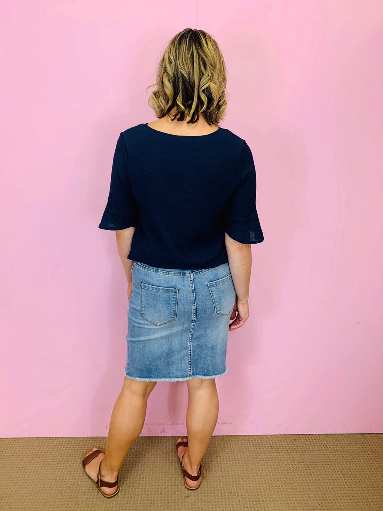 The Ruby Denim Skirt by Saint Rose