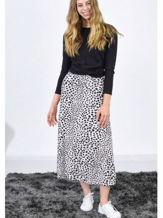 Dalmation Knit Stretch Midi Skirt - Blush