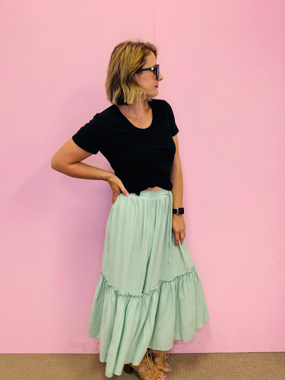 Pleated Linen Maxi Skirt-Sage
