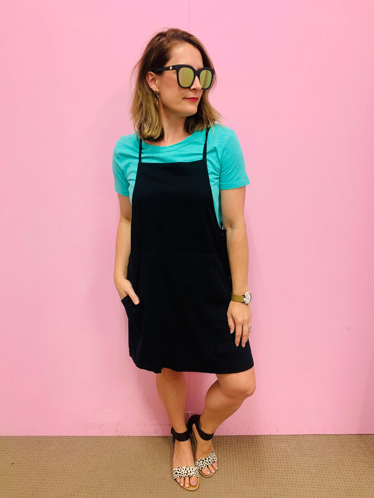 Short Black Button Pinafore
