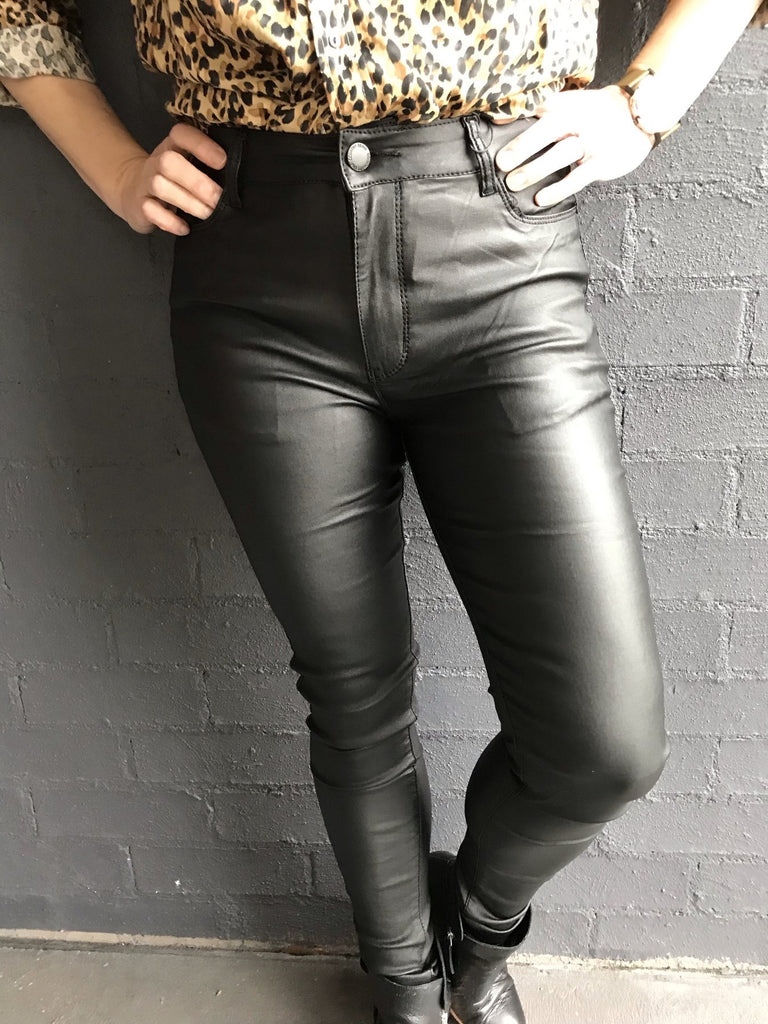 Wet Look Stretch Black Jeans