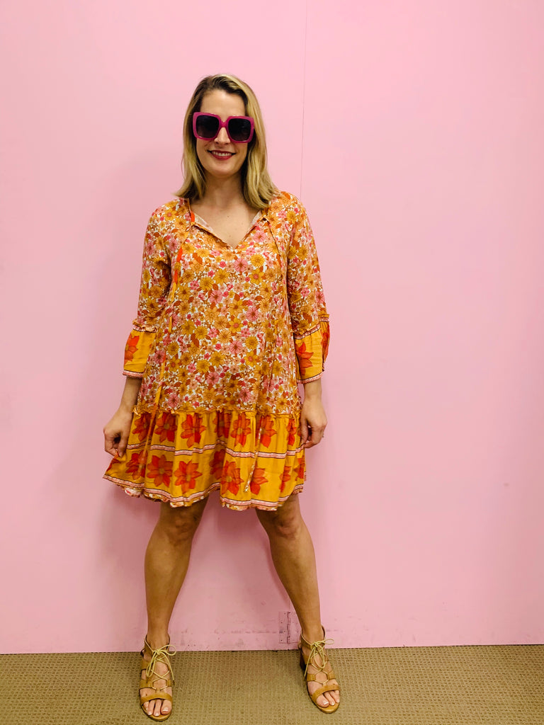 Mila Tunic Dress - Orange and Pink