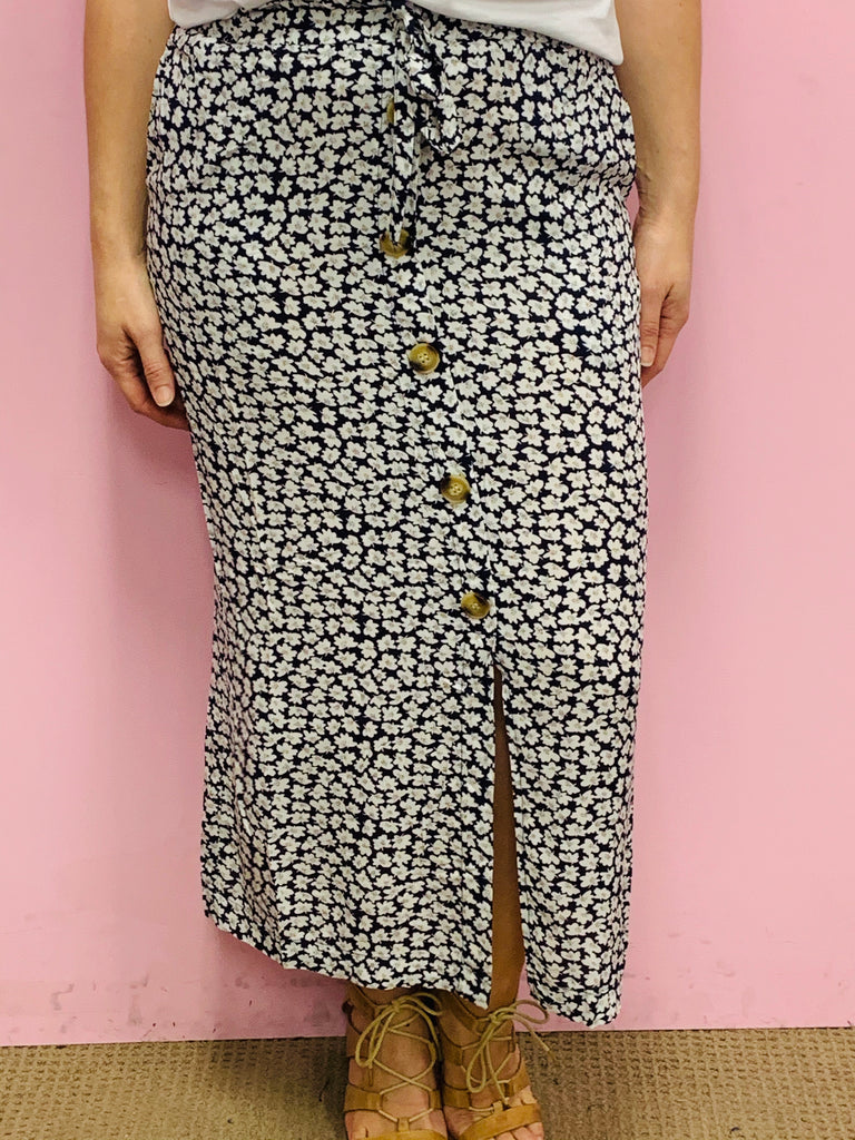 Alice Navy Floral Button Skirt