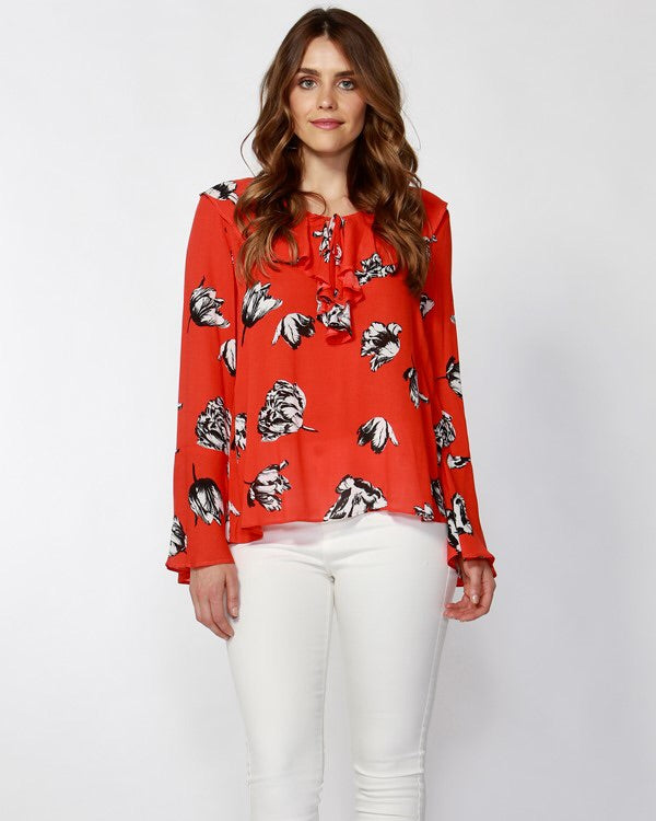 Winter Blooms Ruffle Blouse
