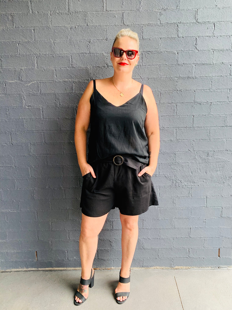 High Waisted Linen Shorts - Black
