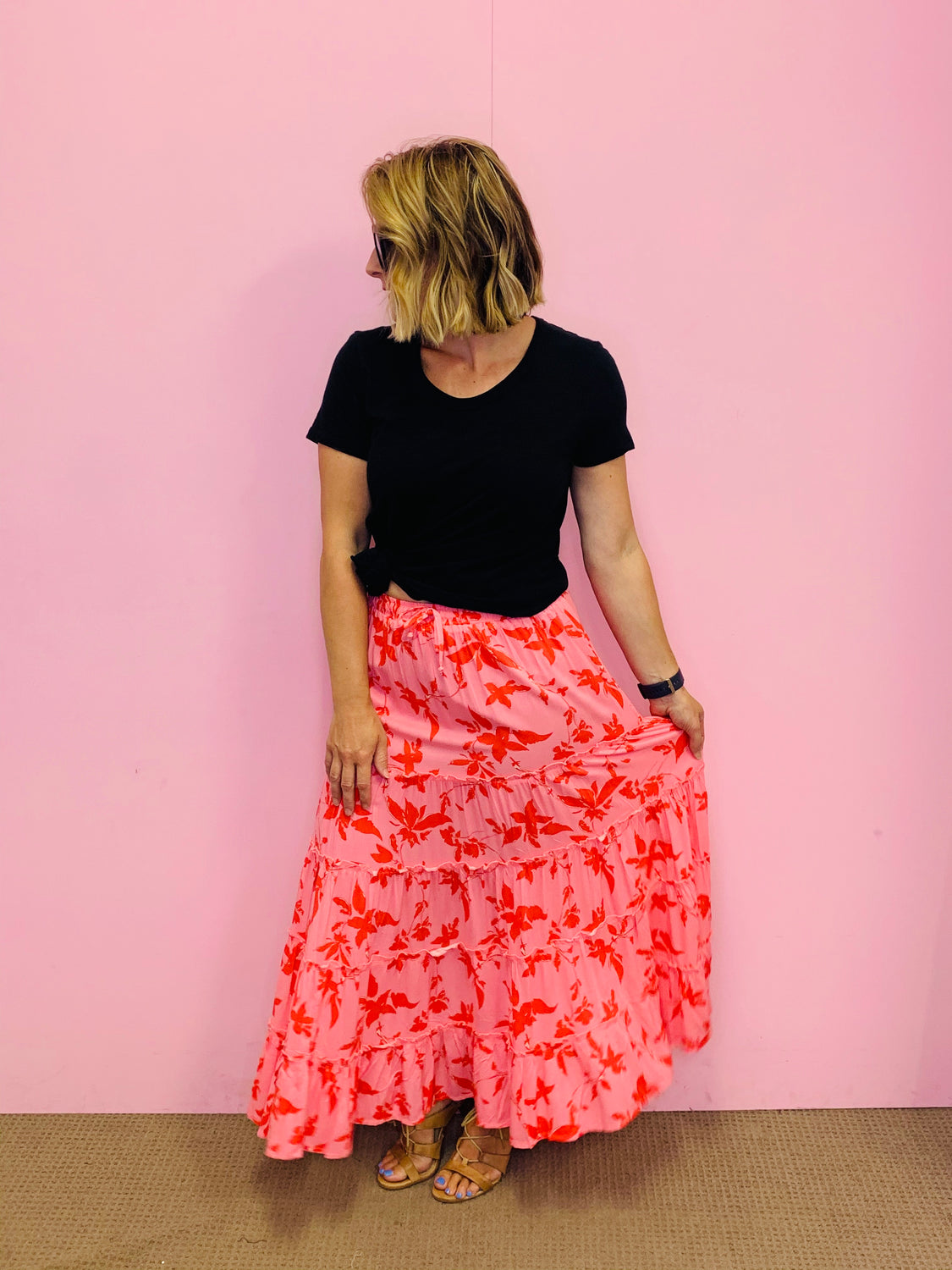 Tiered Frill Maxi Skirt-Pink/Coral