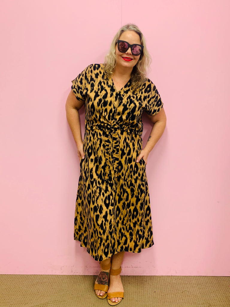 Tiger Dress- Black and Tan