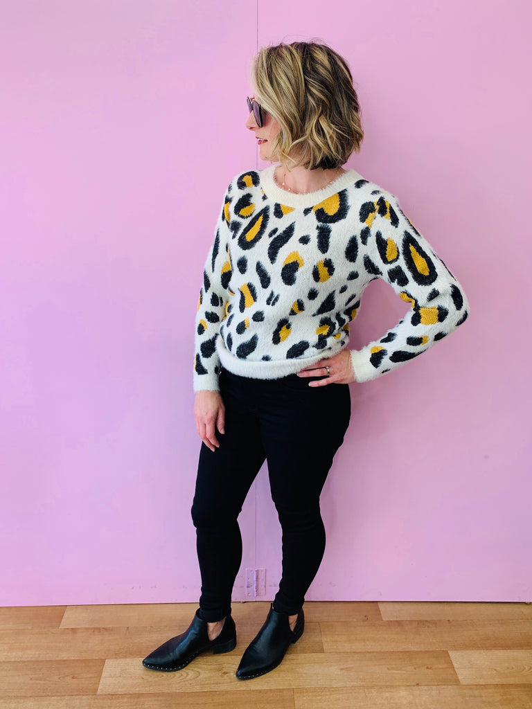 Mustard and Cream Leopard Jumper