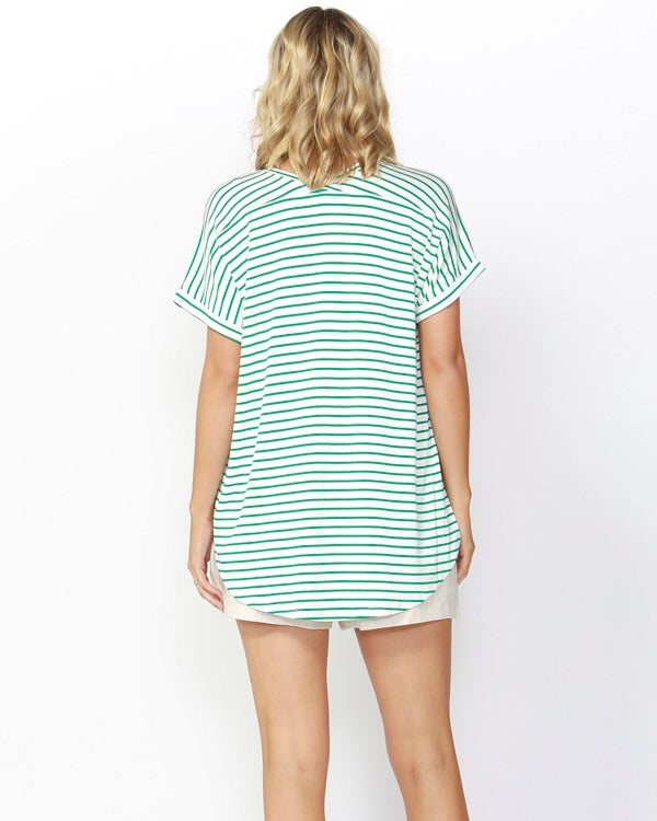 Adelaide Tee - Emerald and White Stripe