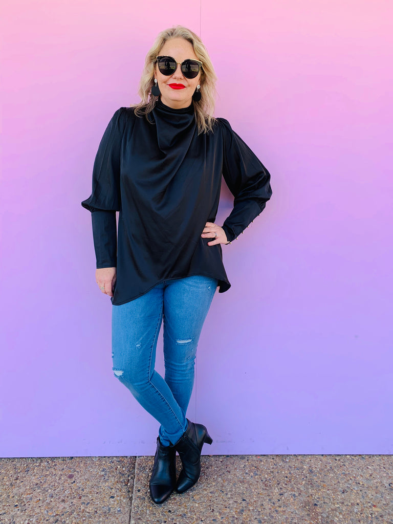 Night Lights Satin Blouse - Black