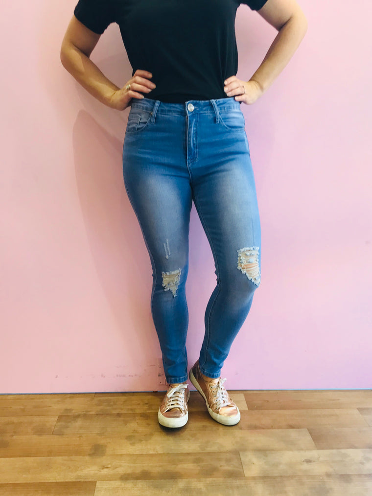 Ruby Ripped Ankle Stretch Jeans