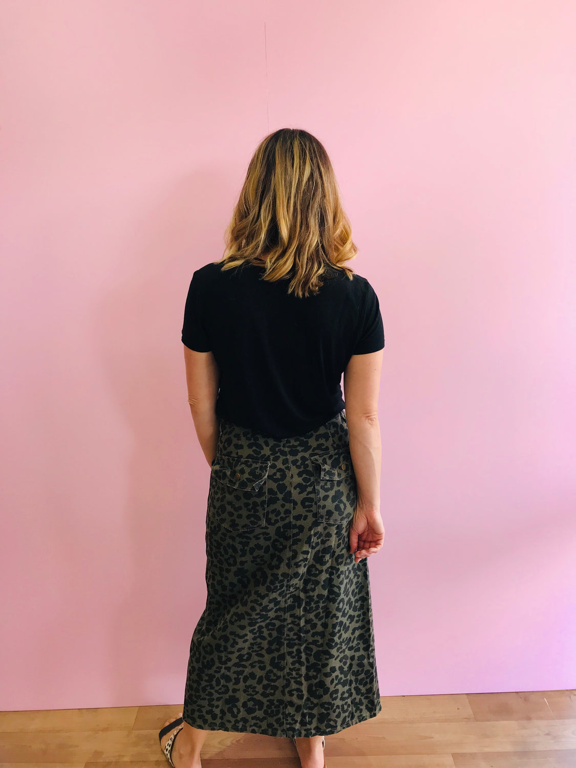 Lilo Khaki Animal Print Haiku Skirt